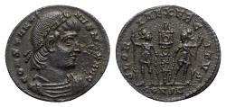 Ancient Coins - Constantine I (307/310-337). Æ Follis - Constantinople - R/ Soldiers