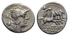 Ancient Coins - C. Cassius, Rome, 126 BC. AR Denarius