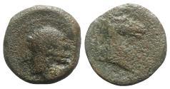 Ancient Coins - Bruttium, Carthaginian occupation, c. 215-205 BC. Æ Unit - Tanit / Horse