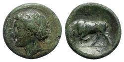 Ancient Coins - Sicily, Syracuse, c. 289-278 BC. Æ Trias(?) - Kore / Bull