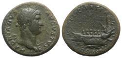 Ancient Coins - Hadrian (117-138). Æ Sestertius - Rome - R/ Galley