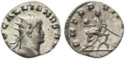 Ancient Coins - Gallienus (253-268). Antoninianus. Mediolanum. R/ Emperor seated, holding globe and sceptre.
