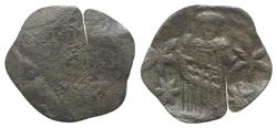 Ancient Coins - Andronicus II Palaeologus (1282-1328). Æ Trachy. Thessalonica. R/ Andronicus standing facing