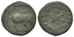 Ancient Coins - Domitian (81-96). Æ Quadrans. Rome, 84-5.  R/ Rhinoceros