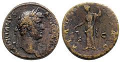 Ancient Coins - Hadrian (117-138). Æ Sestertius. Rome, c. 134-8. R/ AEQUITAS