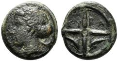 Ancient Coins - Sicily, Syracuse, c. 415-405 BC. Æ Hemilitron.  Head of Arethusa. R/ Wheel