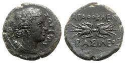 Ancient Coins - Sicily, Syracuse. Agathokles (317-289 BC). Æ Litra. Head of Artemis Soteria  R/ Winged thunderbolt