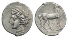 Ancient Coins - CARTHAGE, Second Punic War. Circa 220-205 BC. AR 1/4 Shekel