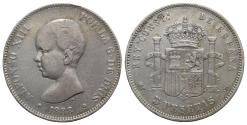 World Coins - Spain, Alfonso XIII (1886-1931). AR 5 Pesetas 1888