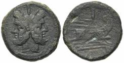 Ancient Coins - ROME REPUBLIC Anonymous, Rome, after 211 BC. Æ As. Head of Janus. R/ Prow of galley