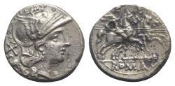 Ancient Coins - ROME REPUBLIC Club series, Southeast Italy, 208 BC. AR Denarius