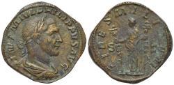 Ancient Coins - Philip I (244-249). Æ Sestertius. Rome, AD 244. R/ FIDES