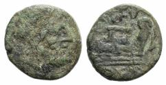 Ancient Coins - ITALY. Northern Lucania, Paestum, c. 2nd century BC. Æ Semis.  R/ Prow