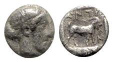 Ancient Coins - Troas, Antandros, late 5th century BC. AR Obol - Artemis Astyrene / Goat - RARE