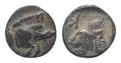 Ancient Coins - Mysia, Kyzikos, c. 450-400 BC. AR Hemiobol. Forepart of boar  R/ Head of roaring lion