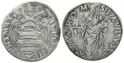 World Coins - Italy, Papal States. Rome, Paolo IV (1555-1559). AR Giulio. Arms. R/ S. Paul. Berman 1040
