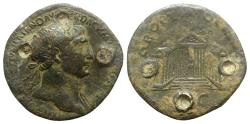 Ancient Coins - Trajan (98-117). Æ Sestertius. Rome, c. 107-111. R/ Octastyle temple of Jupiter Victor RARE