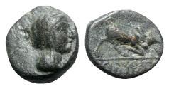 Ancient Coins - Phrygia, Kibyra, late 2nd-1st centuries BC. Æ - Female head / Bull - RARE