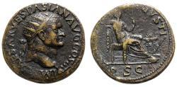 Ancient Coins - Vespasian (69-79). Æ Dupondius - Lugdunum - R/ Securitas