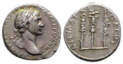 Ancient Coins - Trajan (98-117). Arabia, Bostra. AR Tridrachm