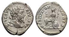 Ancient Coins - Septimius Severus (193-211). AR Denarius - Rome - R/ Roma seated