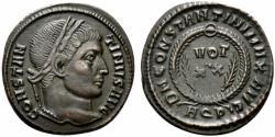 Ancient Coins - Constantine I (307-337). Æ Follis. Aquileia, AD 322. R/ VOT/XX