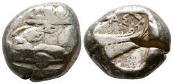 Ancient Coins - Lycia. Phaselis 500-440 BC. AR Stater. Prow of galley in the form of a forepart of a boar