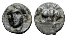 Ancient Coins - Ionia, Phygela, c. 350-300 BC. Æ - Head of Artemis / Bull