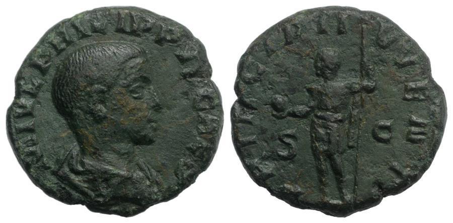 Ancient Coins - Philip II (Caesar, 244-247). Æ As. Rome, 246. R/ Philip II in military attire