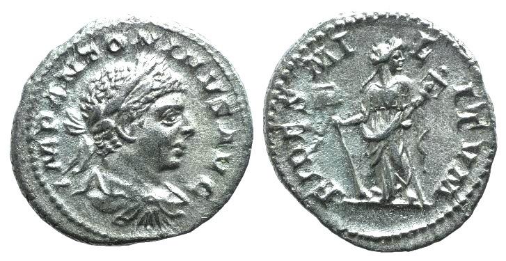 Ancient Coins - Elagabalus (218-222). AR Denarius. Rome, 219-220. R/ Fides