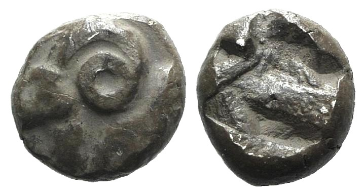 Ancient Coins - UNCERTAIN FRACTIONS OF IONIA C. 5TH CENTURY BC. AR TETARTEMORION. / HEAD AND NECK OF RAM VERY RARE