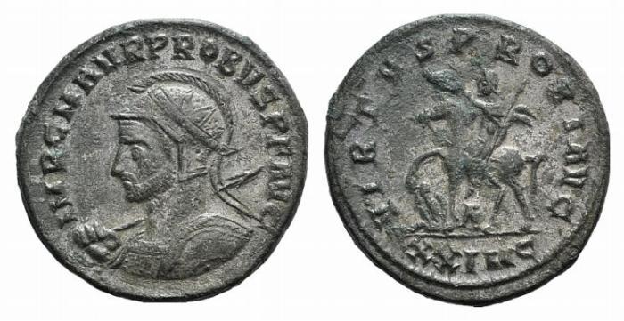 Ancient Coins - Probus. AD 276-282. Antoninianus. Cyzicus mint. / Probus riding horse left