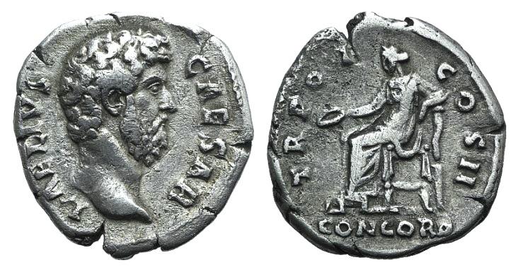 Ancient Coins - Aelius (Caesar, 136-138). AR Denarius. R/ Concordia