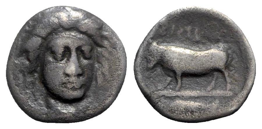 Ancient Coins - Southern Campania, Phistelia, c. 405-400 BC. AR Didrachm - RARE