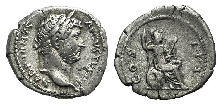 Ancient Coins - Hadrian (117-138). AR Denarius . Rome, 128-132. R/ Roma