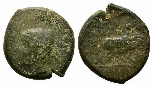 Ancient Coins - Samnium, Aesernia, c. 263-240 BC. Æ 22mm. Head of Vulcan R/ Jupiter in biga