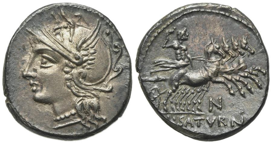 Ancient Coins - ROME REPUBLIC Lucius Appuleius Saturninus, Rome, 104 BC. AR Denarius. R/ Saturn driving quadriga EXTREMELY FINE