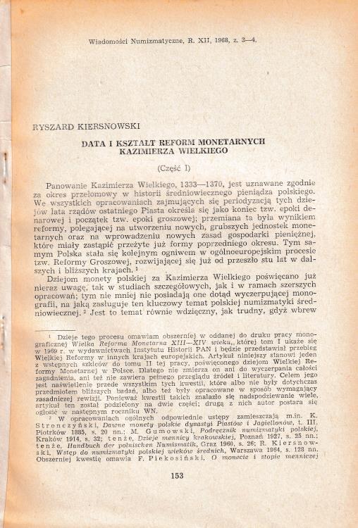 """Ancient Coins - Kiersnowski R., Data I Ksztalt Reform Monetarnych Kazimierza Wielkiego. Reprinted from """"Wiadomosci Numizmatyczne, R. XII 3-4"""""""