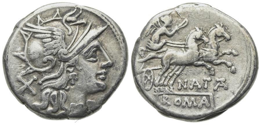 Ancient Coins - ROME REPUBLIC Pinarius Natta, Rome, 155 BC. AR Denarius. R/ Victory driving galloping biga
