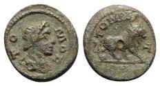 Ancient Coins - Moesia Inferior, Tomis. Pseudo-autonomous, time of Marcus Aurelius ? (161-180). Æ - Tomos / Lion - RARE