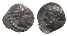 Ancient Coins - Cilicia, Uncertain, c. 4th century BC. AR Hemiobol - Male head / Bearded head