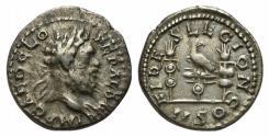 Ancient Coins - Clodius Albinus (195-197). AR Denarius. Rome, 196-7. R/ Aquila between two standards VERY RARE