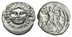Ancient Coins - ROME REPUBLIC L. Plautius Plancus. AR Denarius, 47 BC. Facing head of Medusa / Aurora flying r.
