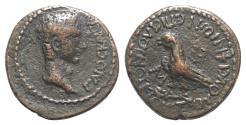 Ancient Coins - Gaius (Caligula, 37-41). Phrygia, Amorium. Æ 20mm. Silvanos and Ioustos Vipsanios, magistrates. R/ Eagle RARE