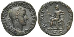 Ancient Coins - Gordian III (238-244). Æ Sestertius. Rome, AD 242.  R/ Apollo seated