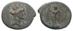 Ancient Coins - Seleukis and Pieria, Laodicea ad Mare. Autonomous issues. Æ 16mm, year 26 ? (5 BC). Head of Tyche R/ Nike