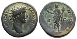 Ancient Coins - Marcus Aurelius (Caesar, 139-161). Æ Sestertius - R/ Honos