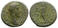 Ancient Coins - Commodus (177-192). Æ As - Rome - R/ Roma standing