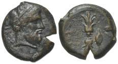 Ancient Coins - Sicily, Syracuse, c. 339/8-334 BC. Æ Hemidrachm. Head of Zeus Eleutherios. R/ Upright thunderbolt; barley grain