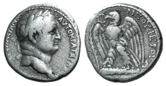 Ancient Coins -  Seleucis and Pieria. Antioch. Vespasian. AD 69-79 . AR Tetradrachm Idealized portrait of Vespasian